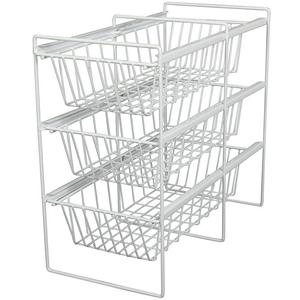 11 Vegetable Bin 3-Shelf Pull-Outs, KV Series, White Wire