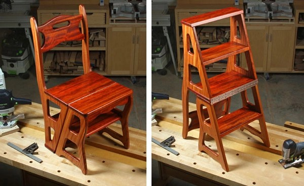 wooden step stool chair clear chairs cheap project plan convertible woodworking build a and