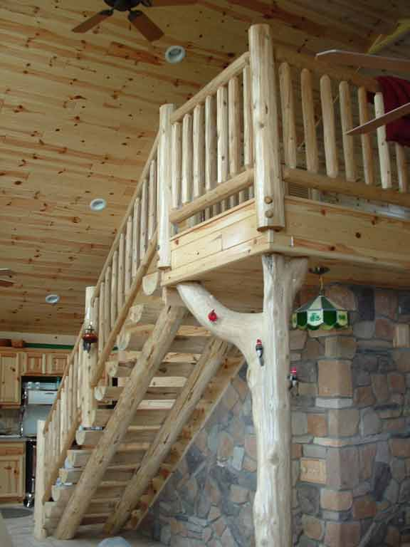 Rustic Wood Stairs and Railings  Cedar  Pine Staircases