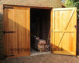 Half open wooden garage door