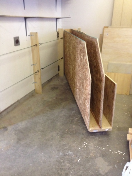 plywood storage rack with rollers