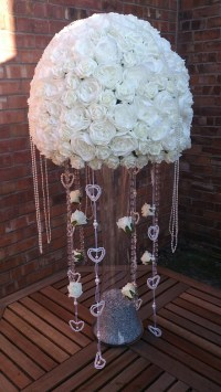Large white rose centrepiece