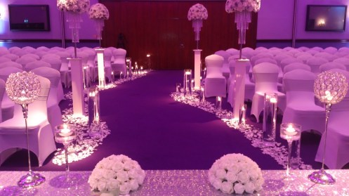 Ceremony venue dressing at Carden Park in Cheshire