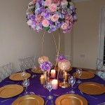 Bright-purple-and-gold-centrepiece