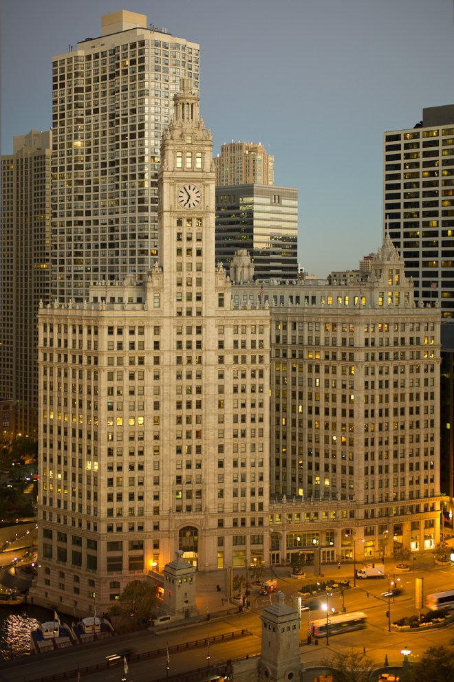 Wrigley Building sunrise