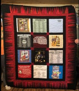 Quilt made of past WoodyFest t-shirts crafted by Okemah resident Linda Rasure.