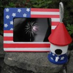 Patriotic picture frame and Birdhouse