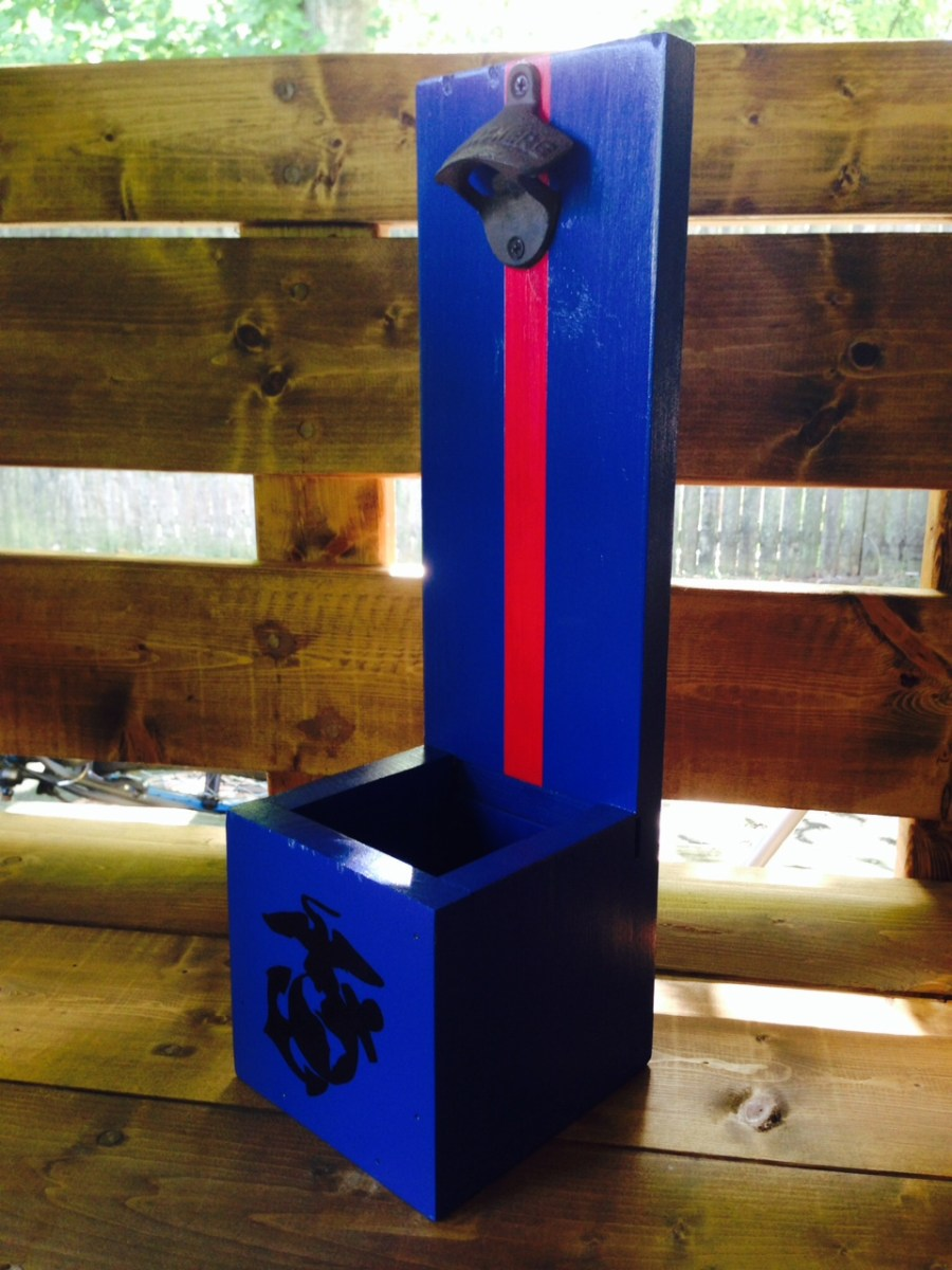 Marine Corps Wooden Bottle Opener With Cap Catcher Woody Things LLC