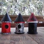 Set of 3 small wooden birdhouses