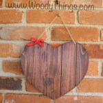 Reversible Heart Shape sign: Wood Stained on one side and Chalk board on the other side