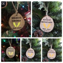 WoodyThings Tree Branch Marine Corps Yellow Footprints Ornaments