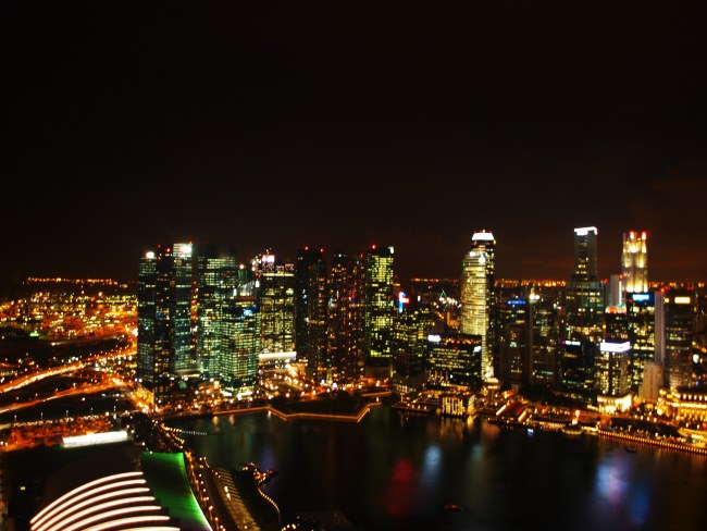 View from the skydeck at the Marina Bay Sands Hotel Singapore