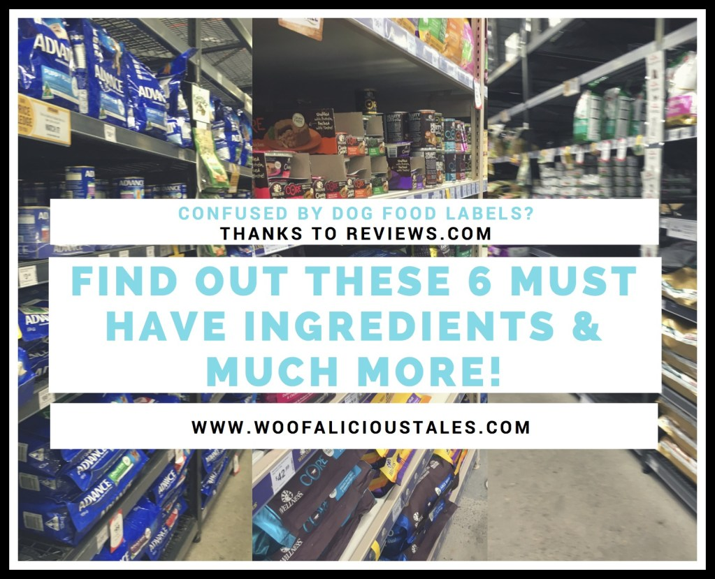 photo collage of rows of dog food aisles