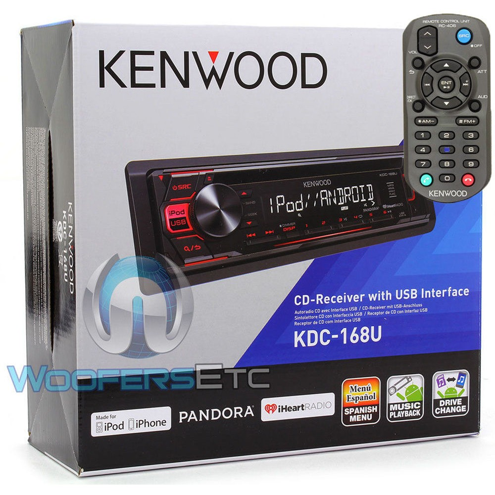 Kenwood KDC-168U In-Dash 1-DIN CD Car Stereo Receiver with