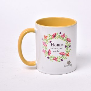 White and Yellow Colored Mug