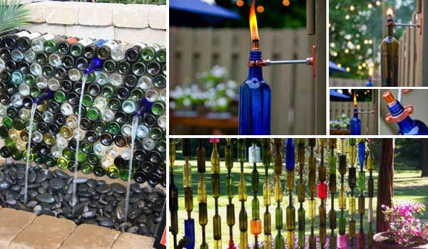 19 Easy DIY Ideas Decorate Outdoor Space With Wine Bottles