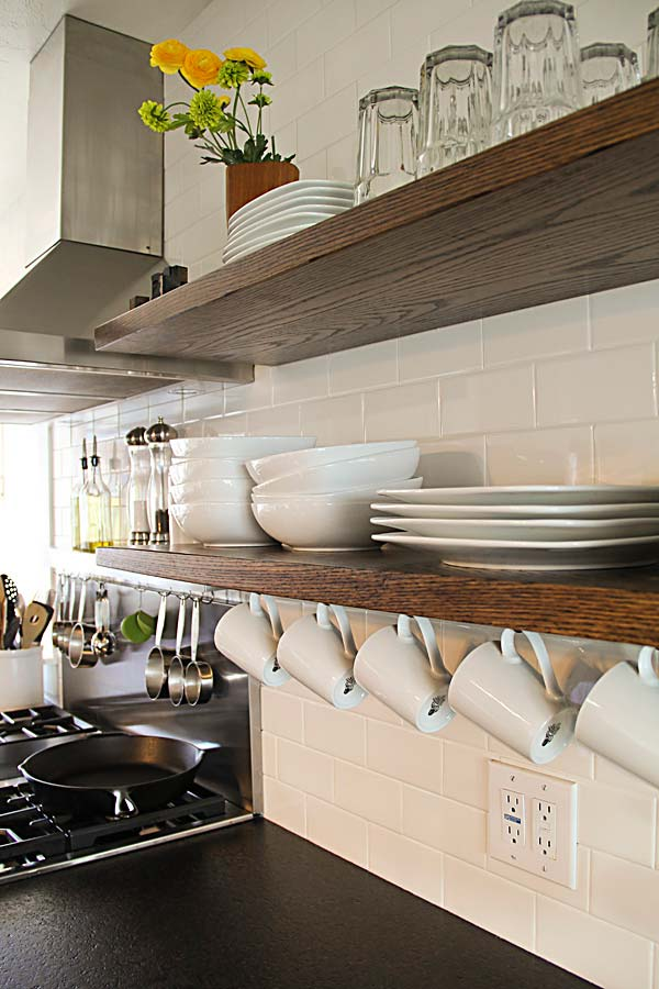 kitchen shelf ideas how to organize your cabinets and drawers interesting practical shelving for amazing set two floating open shelves by using long steel bars as supports that go through the into studs in wall