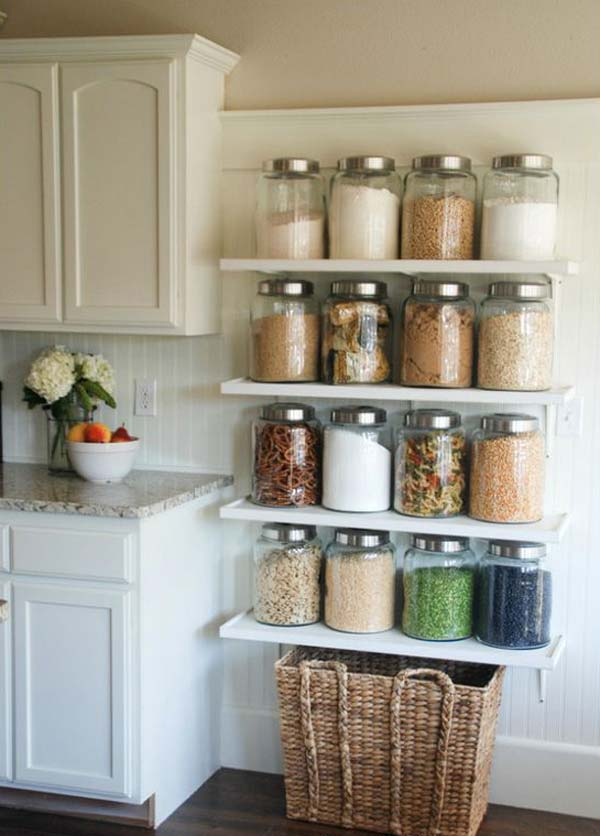 kitchen shelf ideas types of countertops interesting and practical shelving for your amazing diy jar shelves