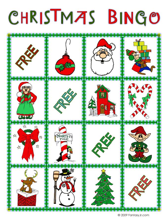 Christmas Bingo Card 2 Woo Jr Kids Activities