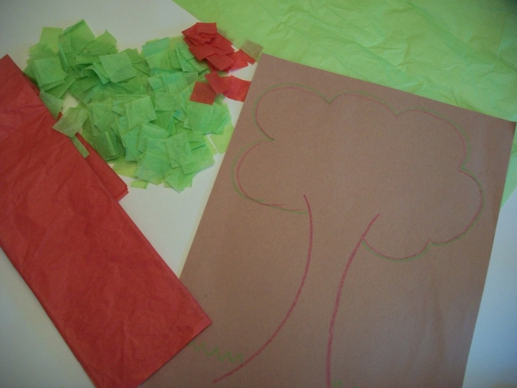 Draw The Outline Of A Tree On Your Construction Paper