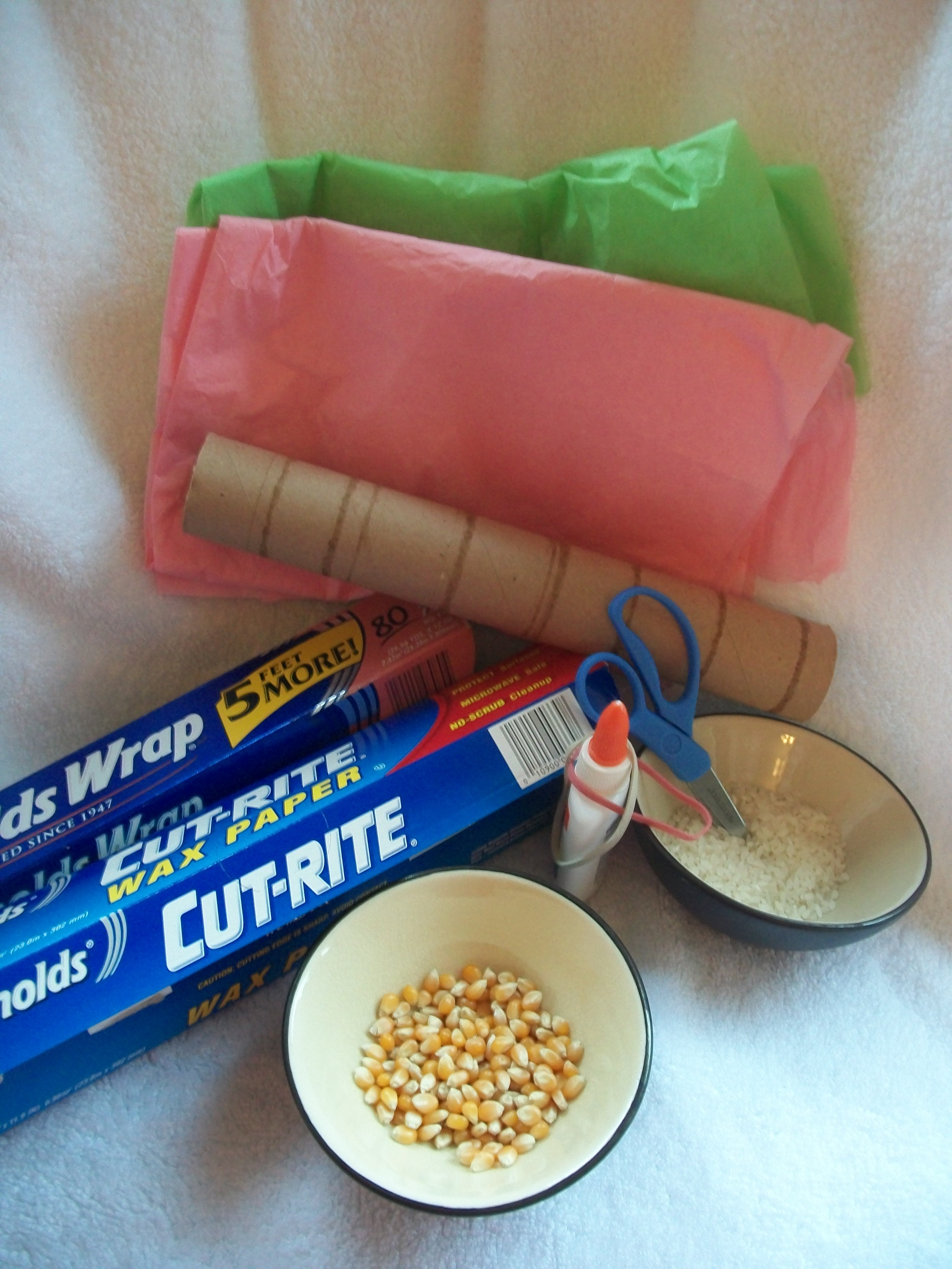 The Materials For An April Showers Rainstick Craft