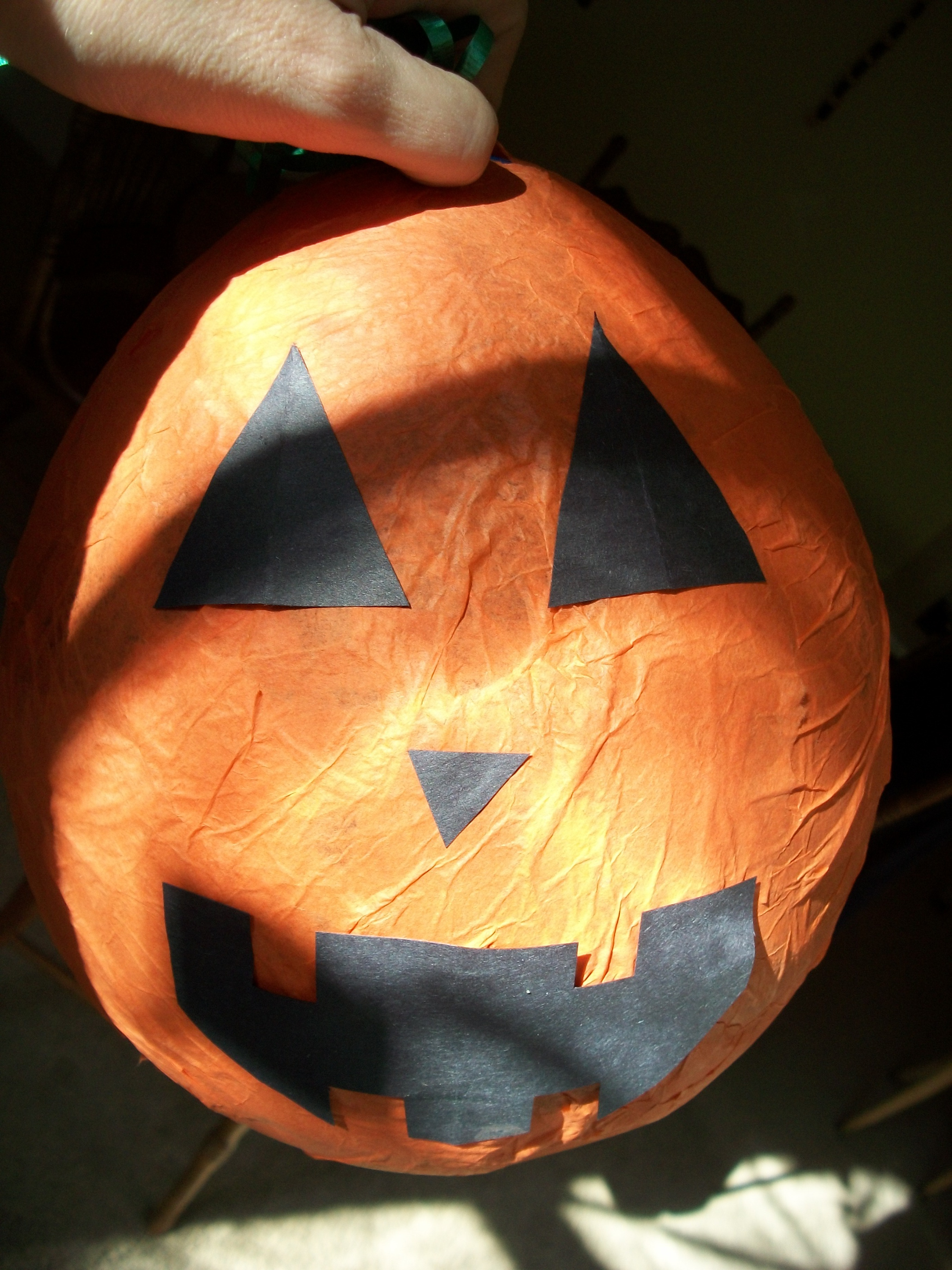 Cut The Jack O Lantern Face Out Of Construction Paper And Glue To Your Pumpkin