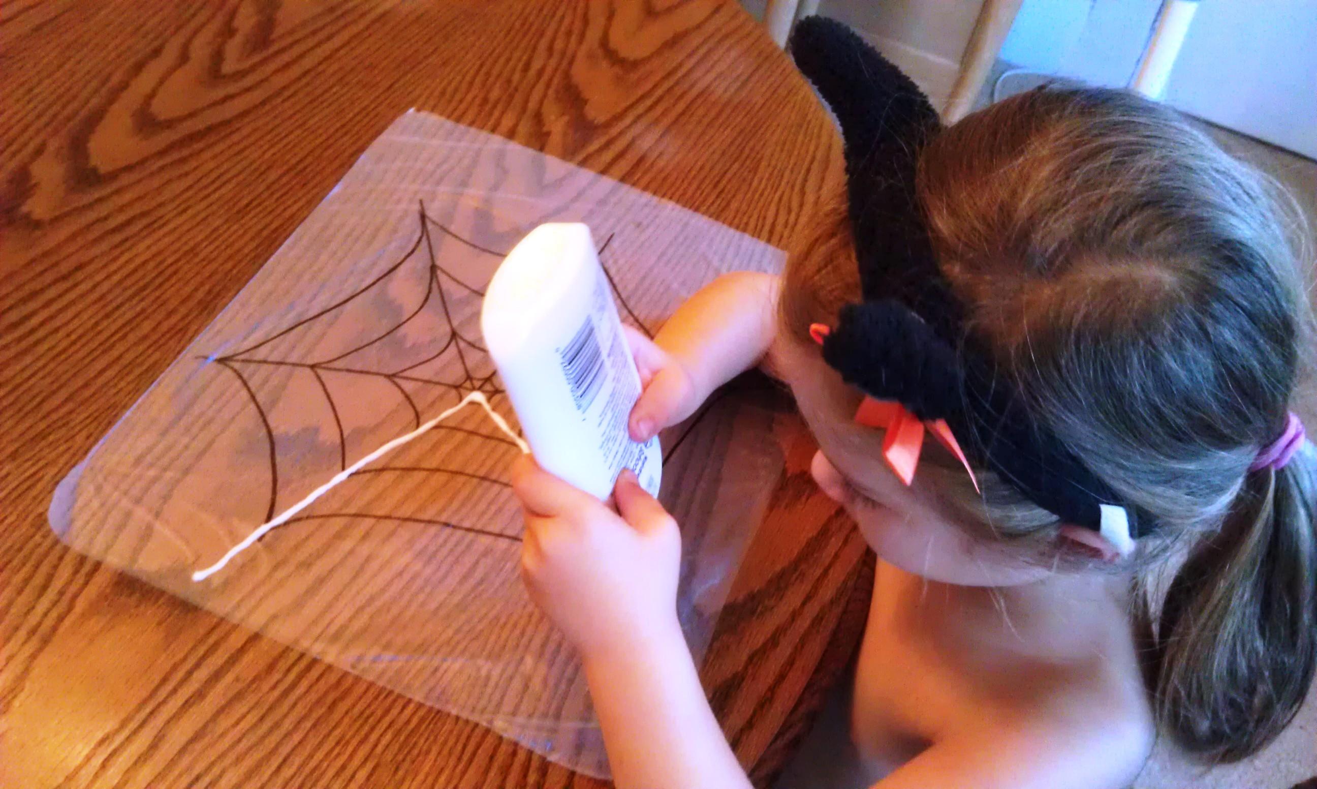 Glue And Glitter Spider Web Craft