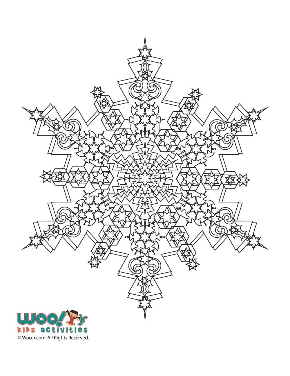 Snowflake Mandala Winter Adult Coloring Page Woo Jr