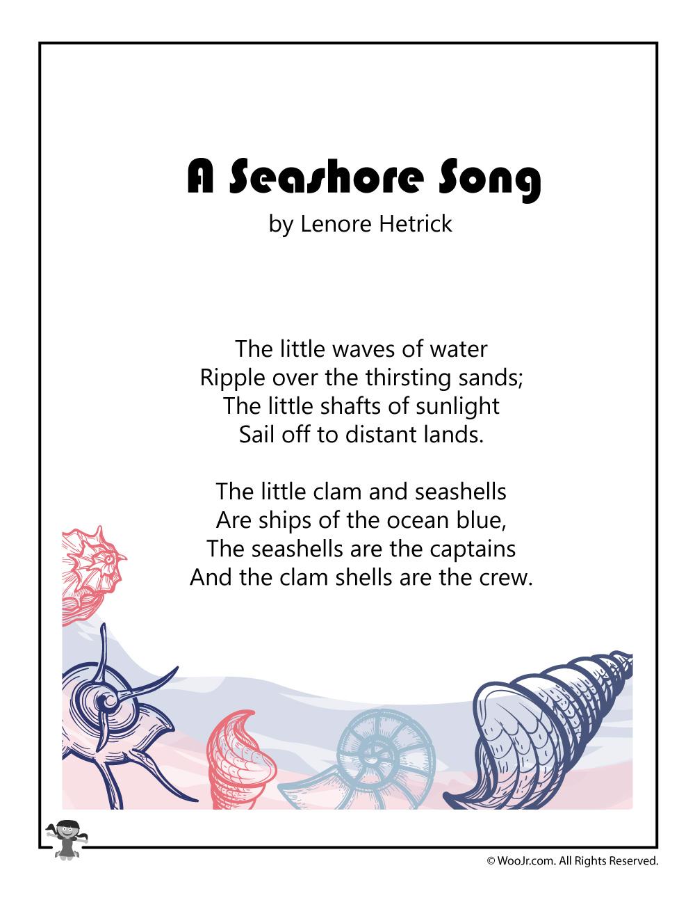 Seashore Song Printable Summer Poem Woo Jr Kids Activities