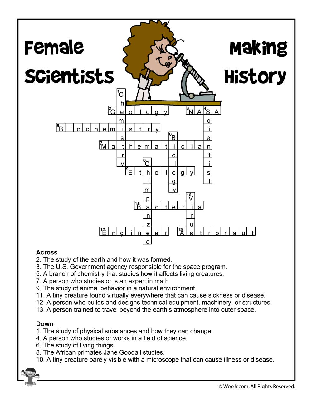 Crossword Puzzle Gallery Female Scientists Answers Woo Jr Kids Activities Of Recycling