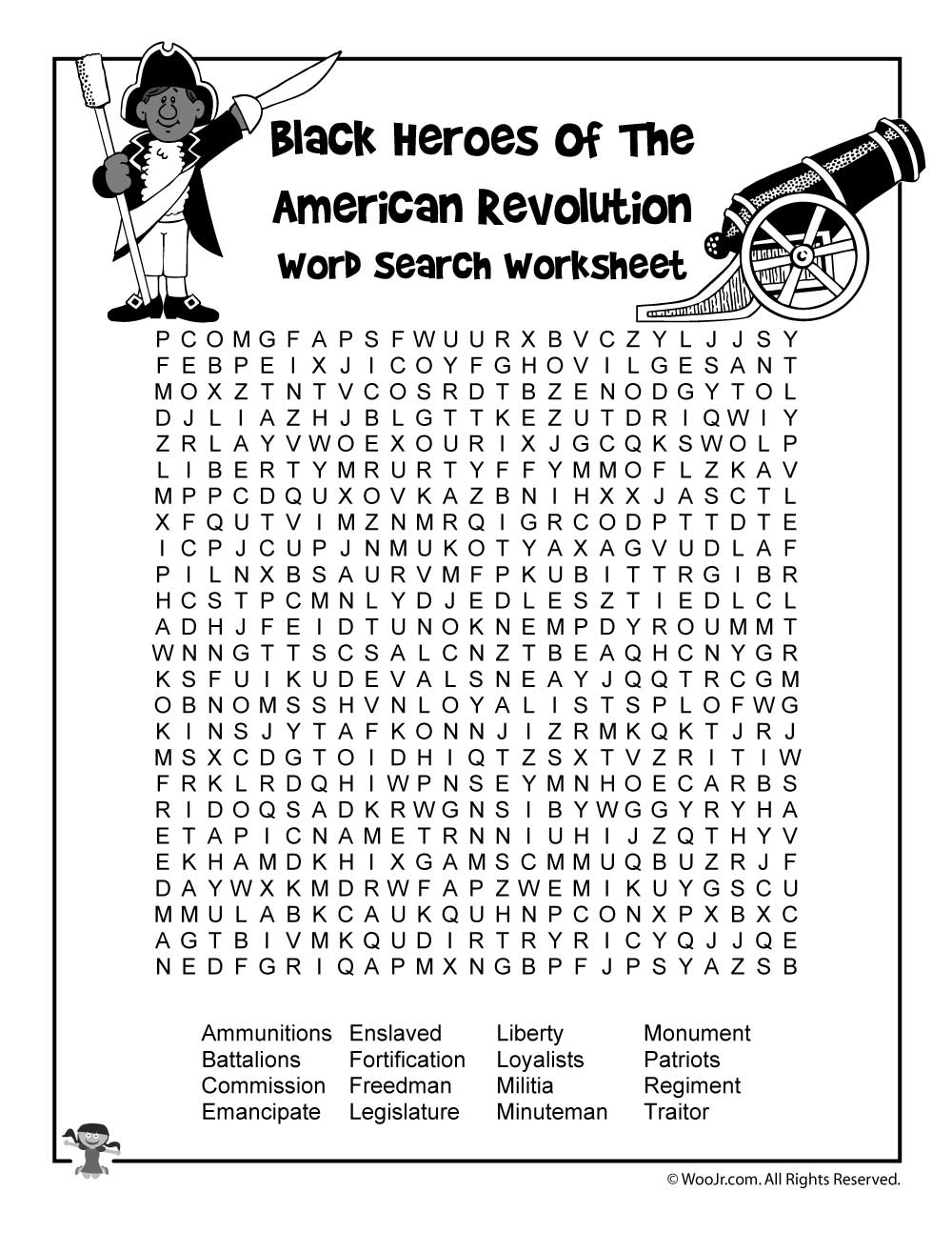 Black Heroes of the Revolutionary War Word Search