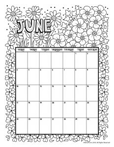 Printable coloring Calendar