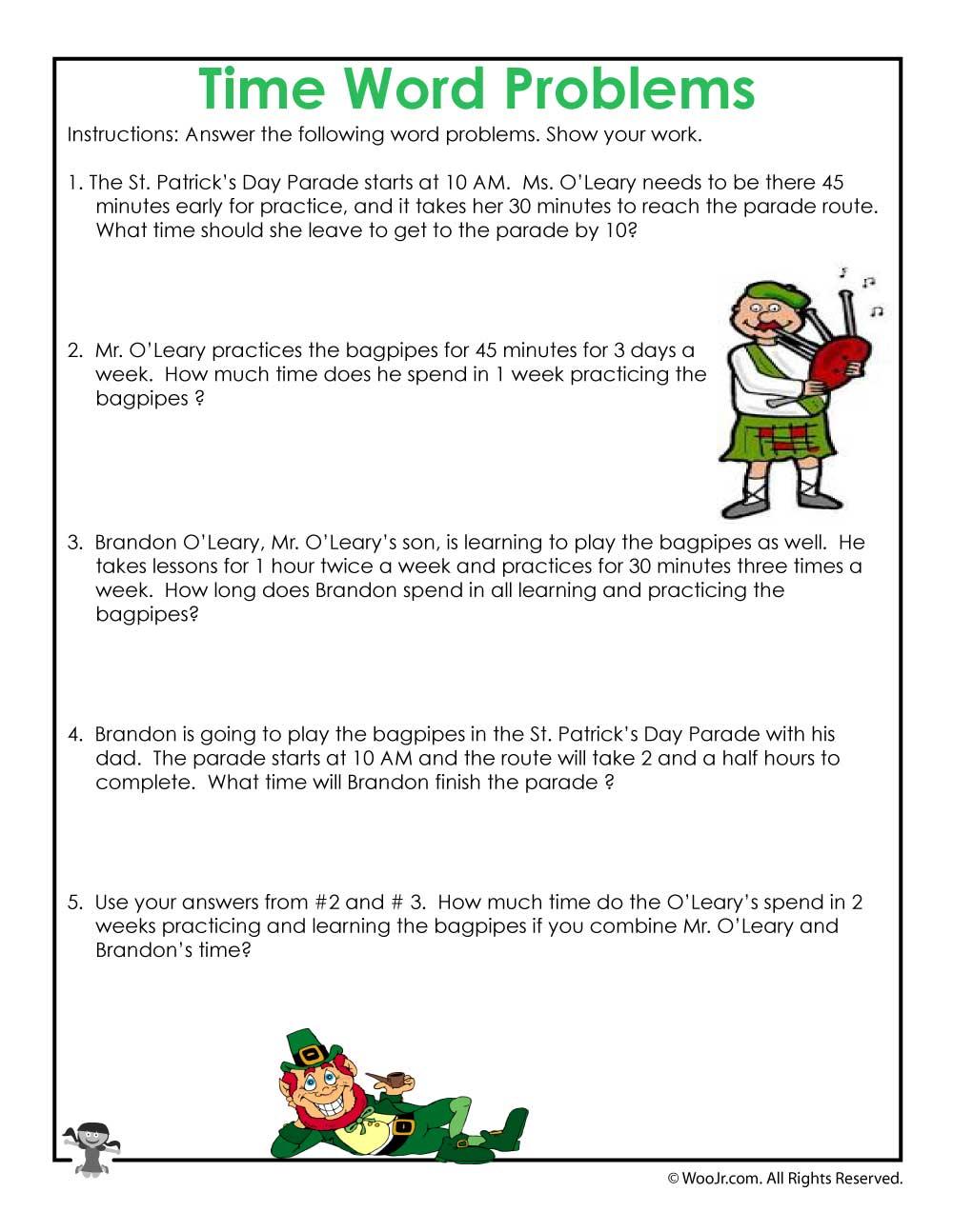 medium resolution of St. Patrick's Math Word Problem Worksheet   Woo! Jr. Kids Activities