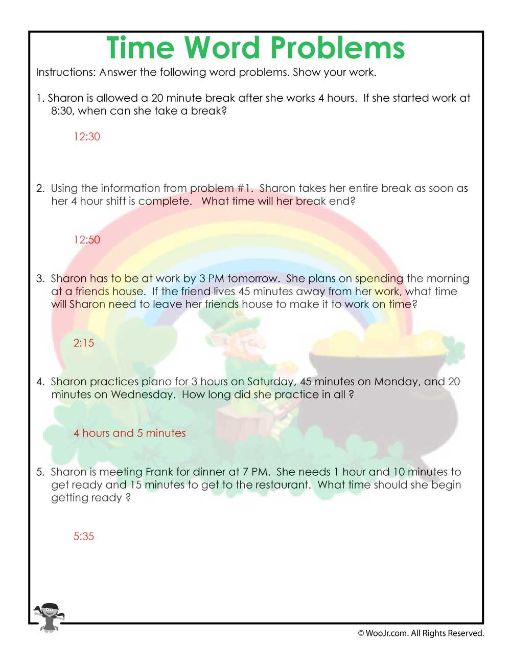 medium resolution of 3rd Grade Time Worksheet Printable Answer Key   Woo! Jr. Kids Activities