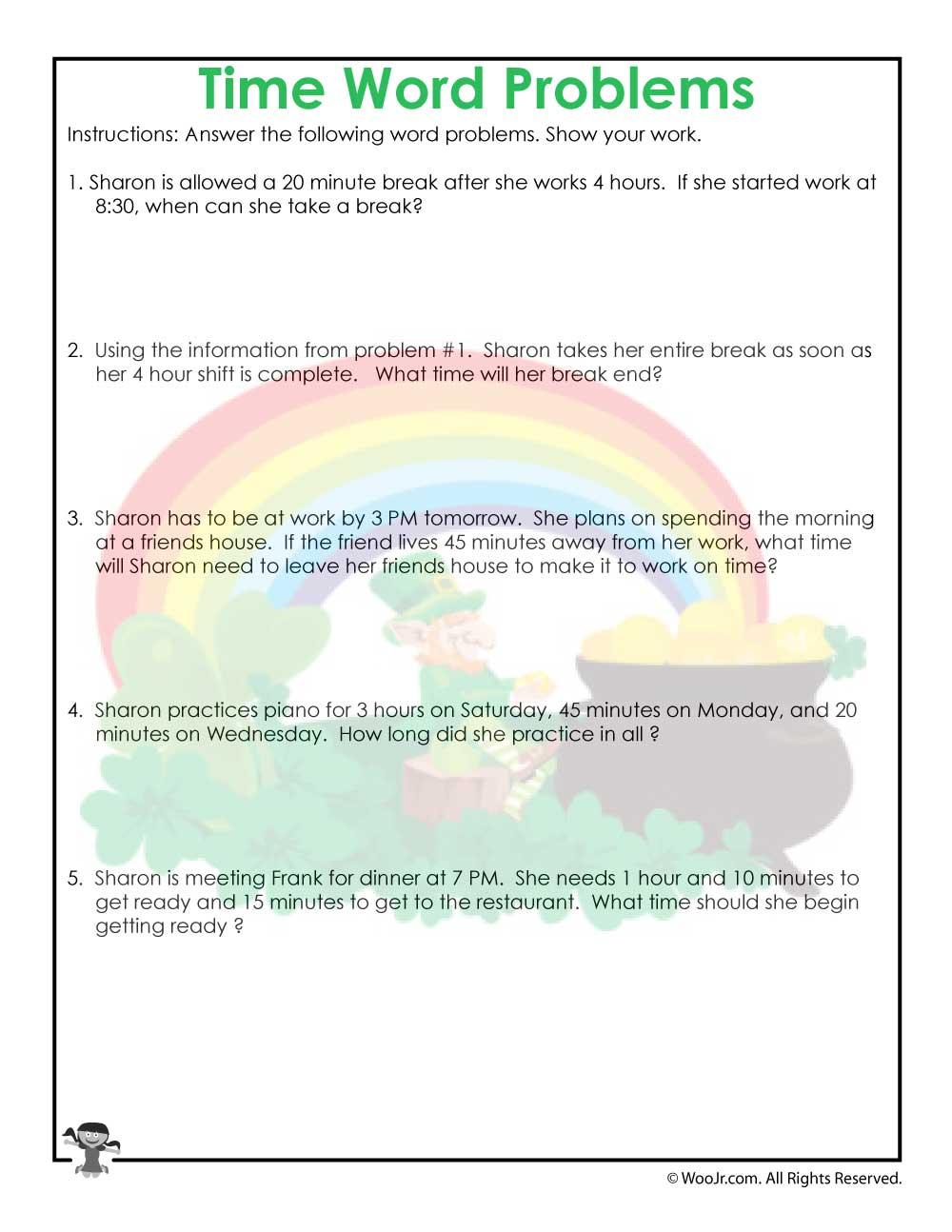 medium resolution of 3rd Grade Time Worksheet Printable   Woo! Jr. Kids Activities