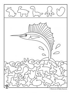 Ocean Hidden Pictures Printables to Teach Shape