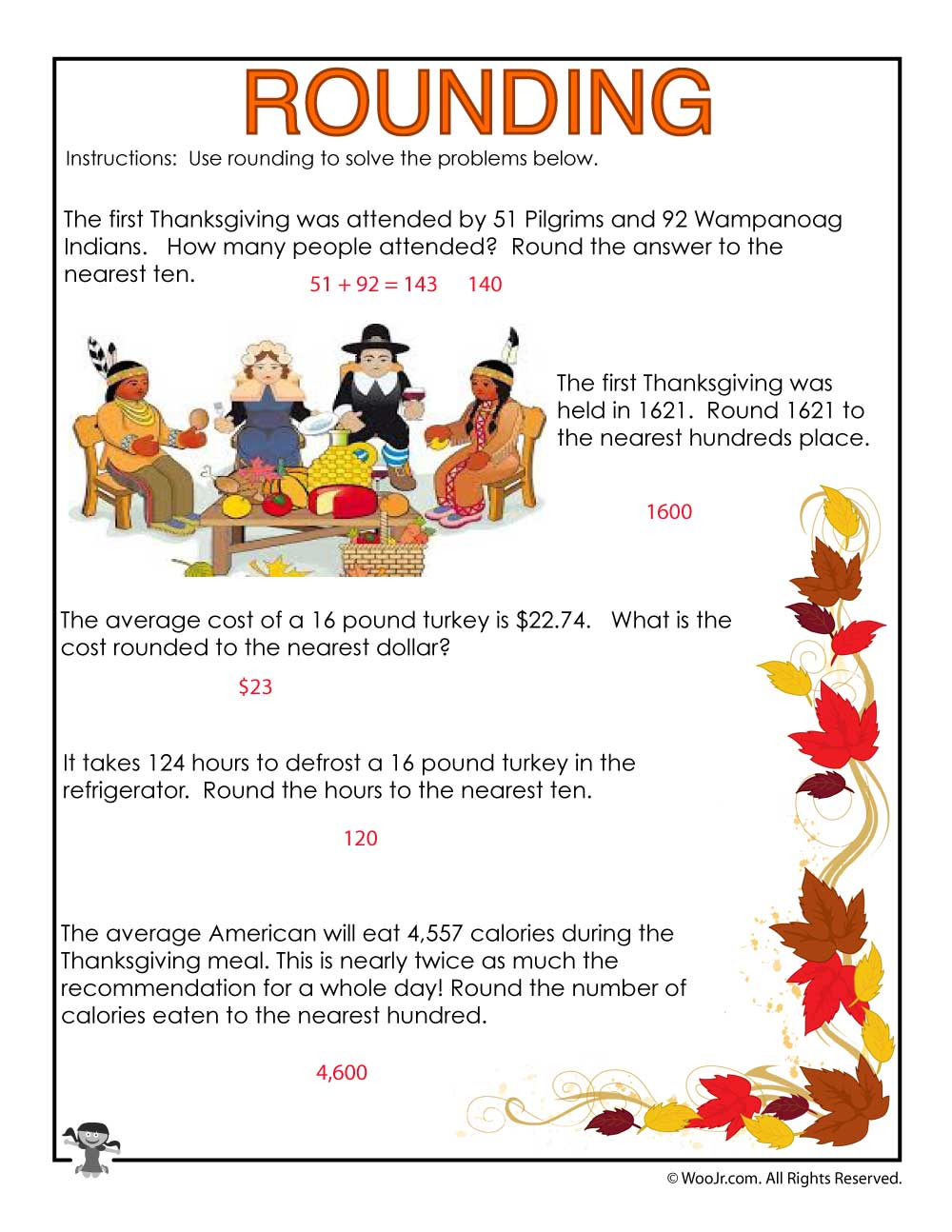 hight resolution of 3rd Grade Rounding Numbers Worksheet - ANSWERS   Woo! Jr. Kids Activities