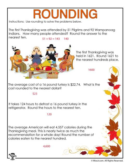 small resolution of 3rd Grade Rounding Numbers Worksheet - ANSWERS   Woo! Jr. Kids Activities