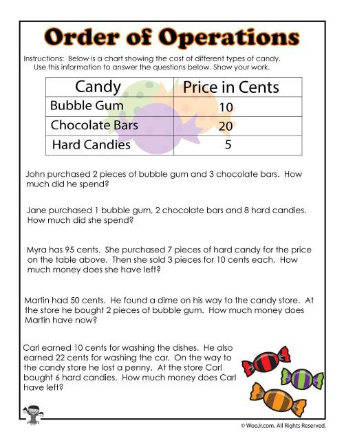 small resolution of Halloween Order of Operations with Data Worksheet   Woo! Jr. Kids Activities