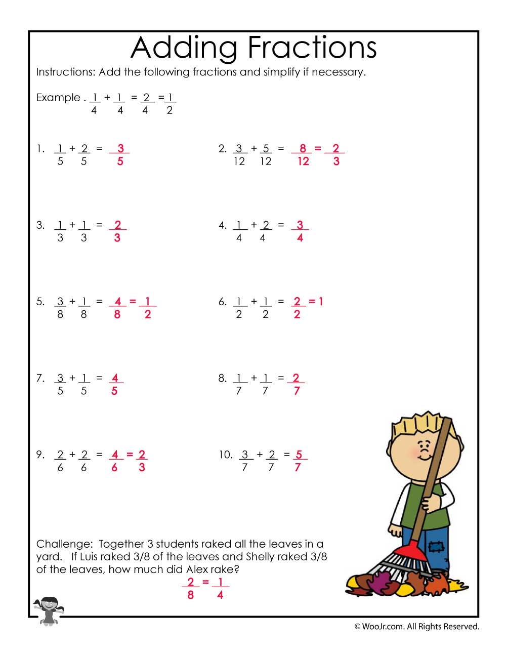 medium resolution of Fall Adding Fractions Worksheet - ANSWERS   Woo! Jr. Kids Activities