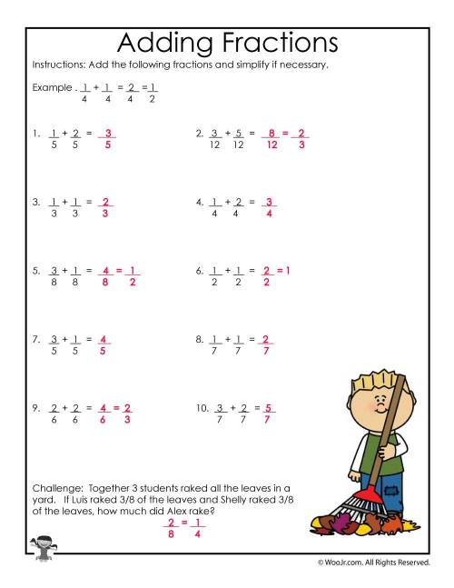 small resolution of Fall Adding Fractions Worksheet - ANSWERS   Woo! Jr. Kids Activities
