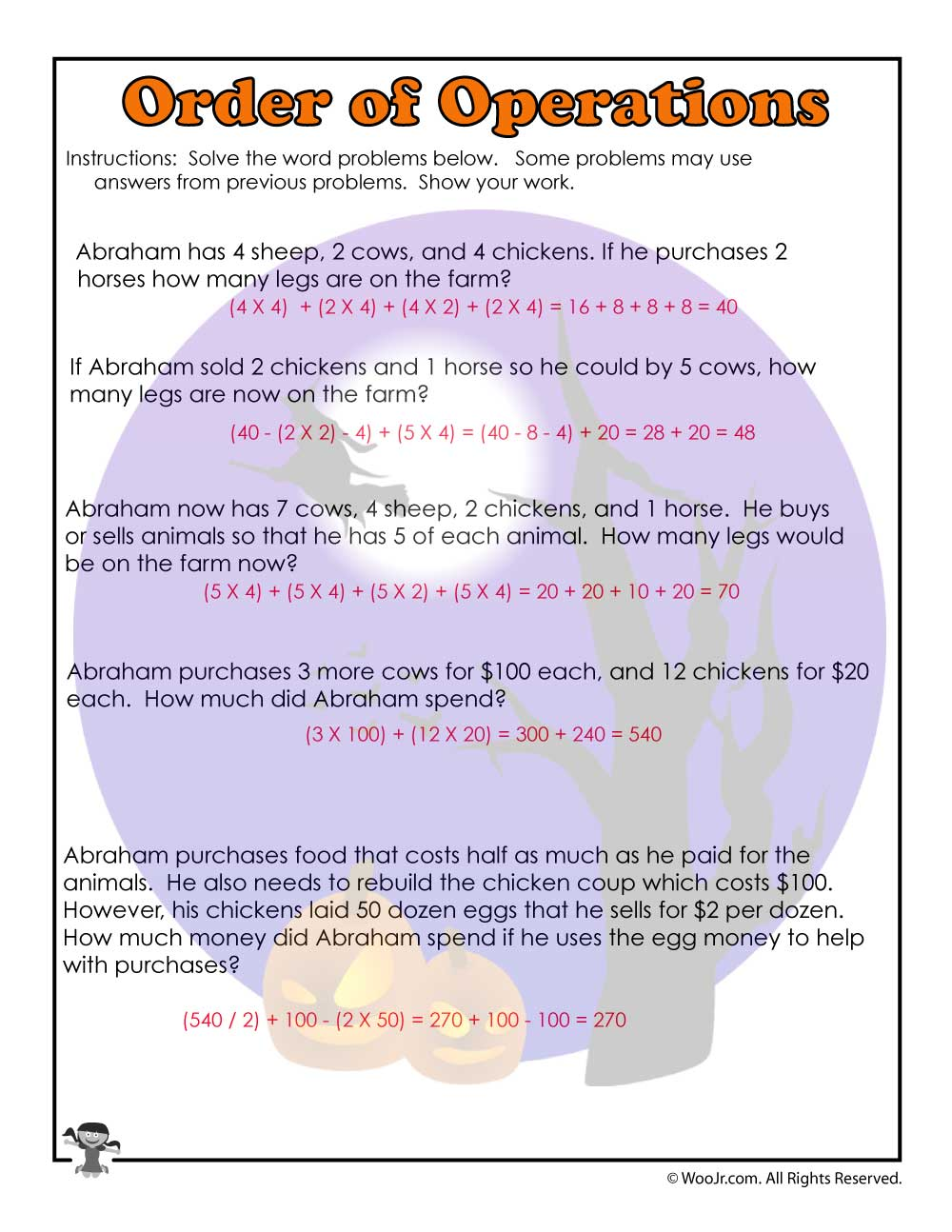 hight resolution of Order of Operations Common Core Worksheet - ANSWERS   Woo! Jr. Kids  Activities