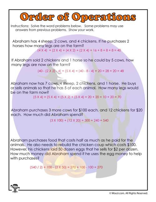 small resolution of Order of Operations Common Core Worksheet - ANSWERS   Woo! Jr. Kids  Activities