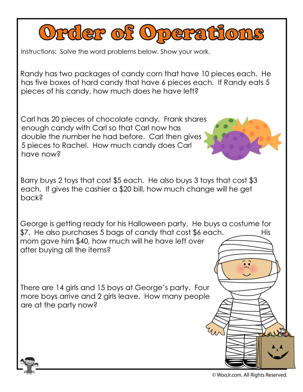 medium resolution of 3rd Grade Halloween Math Worksheet Operations   Woo! Jr. Kids Activities