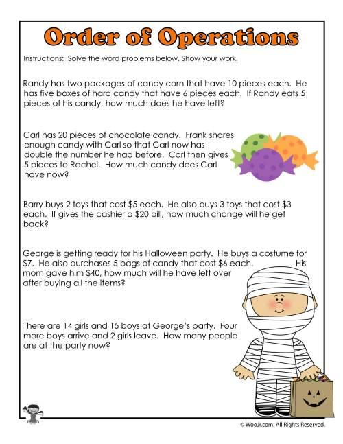 small resolution of 3rd Grade Halloween Math Worksheet Operations   Woo! Jr. Kids Activities