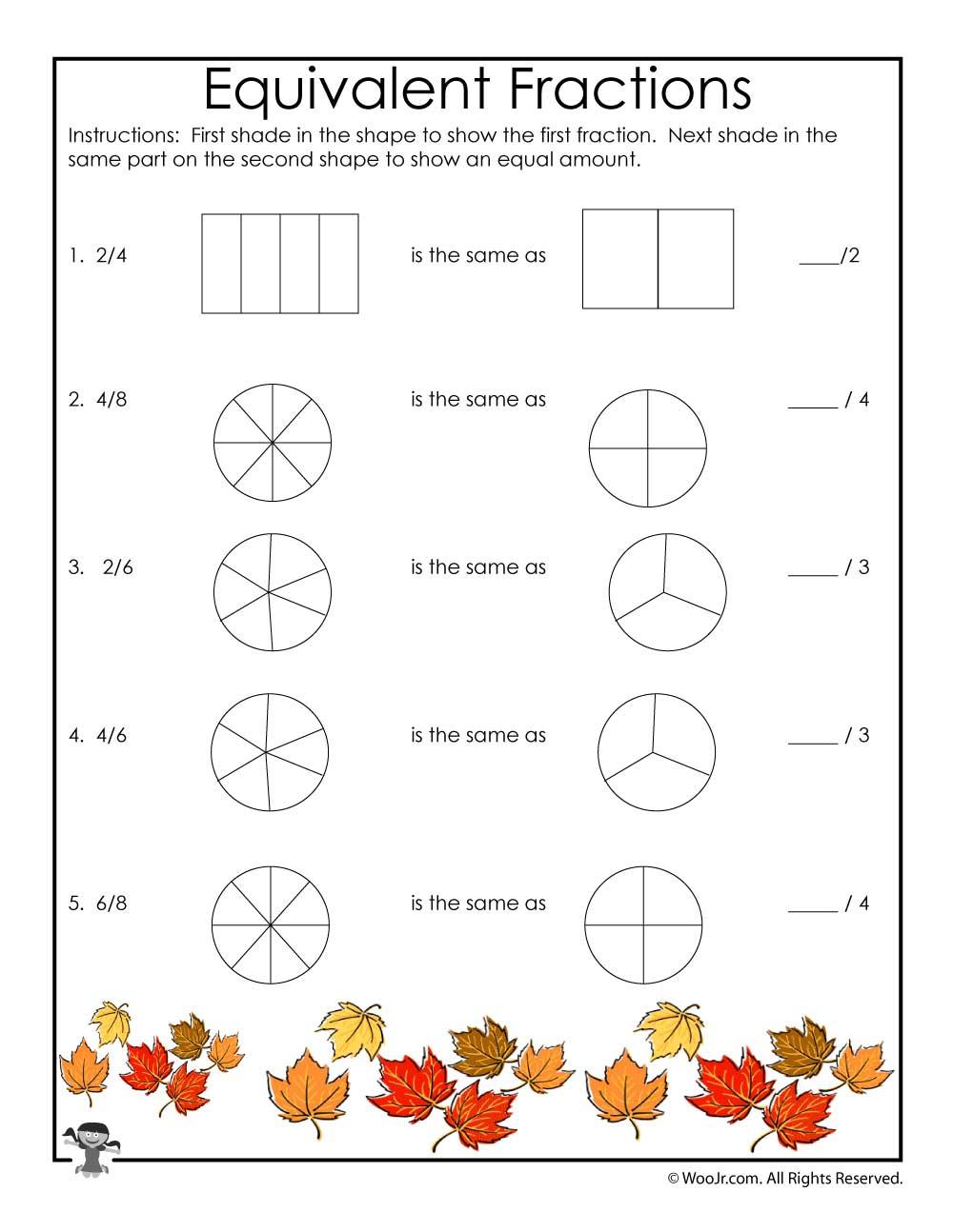 medium resolution of Fall Equivalent Fractions Worksheet   Woo! Jr. Kids Activities