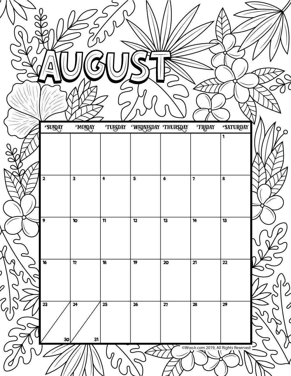 August 2020 Coloring Calendar | Woo! Jr. Kids Activities