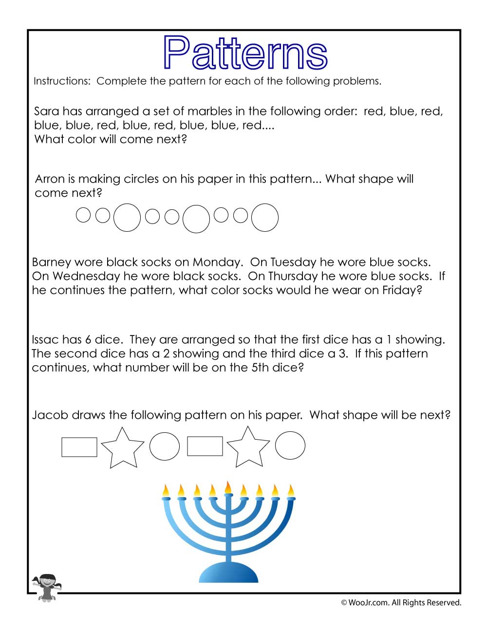 medium resolution of Hanukkah Math Story Problems Worksheet   Woo! Jr. Kids Activities