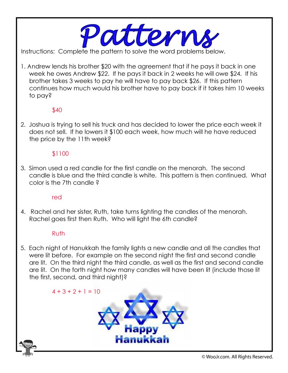 hight resolution of 3rd Grade Math Patterns Word Problems- ANSWER KEY   Woo! Jr. Kids Activities
