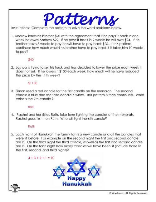 small resolution of 3rd Grade Math Patterns Word Problems- ANSWER KEY   Woo! Jr. Kids Activities